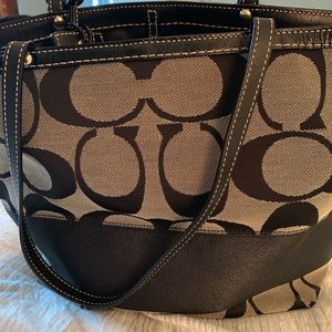 Black and grey coach canvas tote bag
